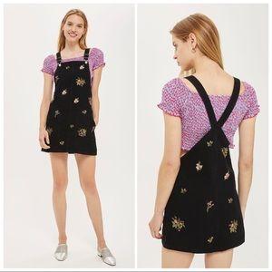 Topshop MOTO Floral Pinafore Denim Dress sz 4